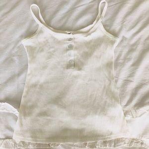 Plain white spaghetti strap, button tank top